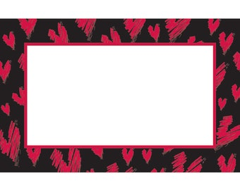 """50 """"Bold Hearts II"""" Red White Black Florist Blank Enclosure Cards Small Tags Crafts (Free Shipping!)"""
