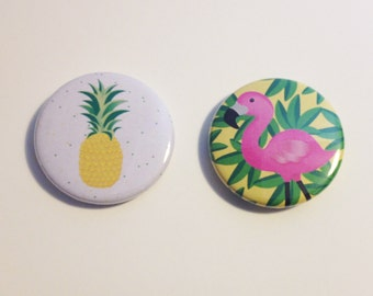 Pineapple and Flamingo 2pk Pinback Button Badge or Magnet 3.5cm