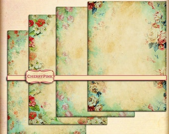 Digital Paper SHABBY FLORAL GREEN  scrapbook premade page shabby grunge scrapbook supply
