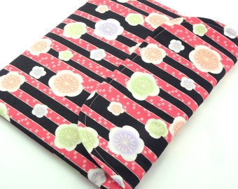 SALE iPad 4 Sleeve,iPad 3 Case,Kimono Padded Tablet case Flap Closure Cotton Fabric plum blossoms pink