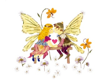 Childhood Sweethearts - Children's Fairy Art - 8 x 10 Fine Art Giclee Print - Faery Wings - Lover's Kiss