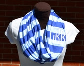 Monogrammed Infinity Scarf Royal Blue and Light Blue Stripe Game Day Knit Jersey