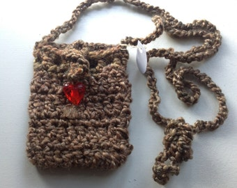 Handmade Sokie Dokie Cell Phone Pouch in Brownish grayish colors with a Little Ornament Latch