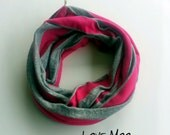 Gray and Hot Pink Stripe Knit Baby Infinity Scarf