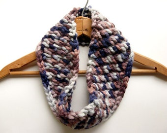 Chunky Knit Wool Cowl - purple, mauve, gray scarf, neckwarmer, merino wool, alpaca, Plymouth yarn