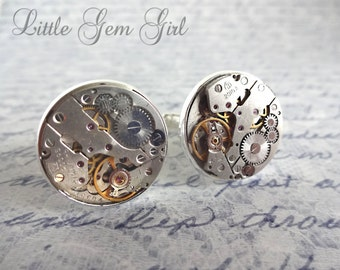 Vintage Steampunk Watch Movement Cuff Links - Genuine Russian Gears set in Silver Cufflinks - Fathers Day - Groom Groomsmen and Fiance