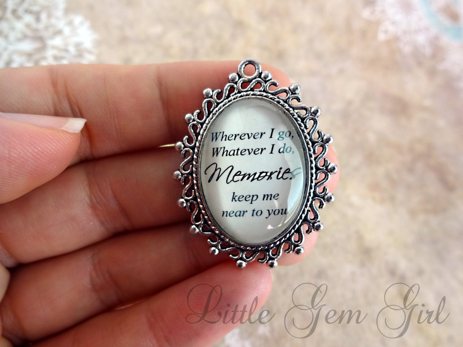 wedding bouquet charm in memory poem wedding charm