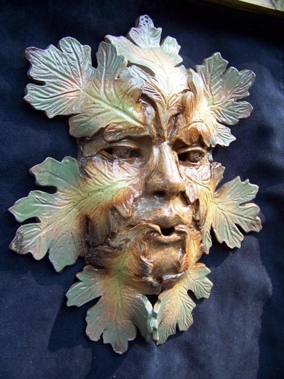 Pottery Art Wall Mask Foliated Green Man