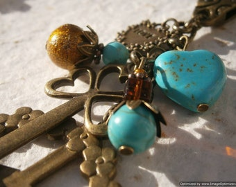 Natural Turquoise and Bronze 'HIPPIE' BAG CHARM - Peace Sign, Love/Amour Charm, Key Charm, Yoga Bag Accessory, Purse Fob, 5th Throat Chakra