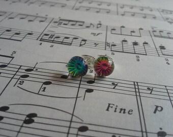 8.5mm Rainbow Stud faceted earrings stainless steel