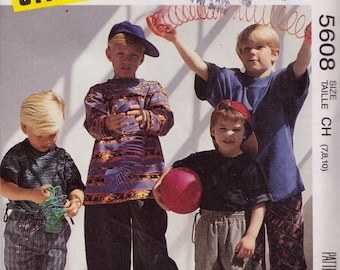 McCall's 5608 Boys' Tops and Pants or Shorts Pattern, UNCUT, Size 7-8-10, Gitano,Loose Fitting,For Stretch Knits, Vintage, 1991, Casual Wear