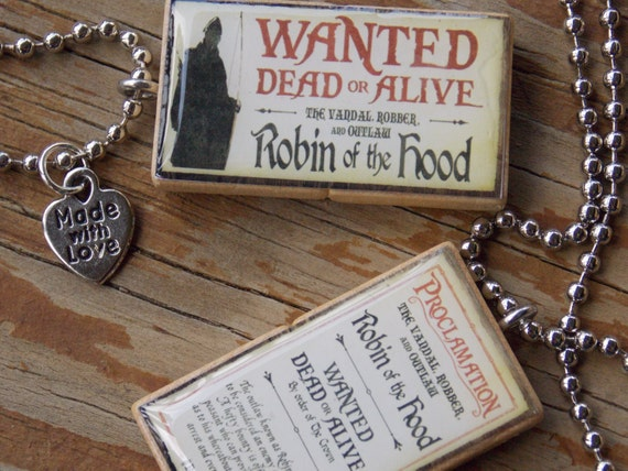 Once Upon A Time Double Sided Double Scrabble Tile Pendant Necklace
