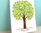 Wedding Guest Book Alternative - Heart Tree - Peachwik Interactive Art Canvas - 75 guests - Heartwik Tree - Wedding Gallery Wrapped Canvas