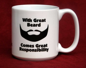 PERSONALIZED BIG Coffee Mug For Guys With a Beard Humorous Jumbo 20 oz Cup