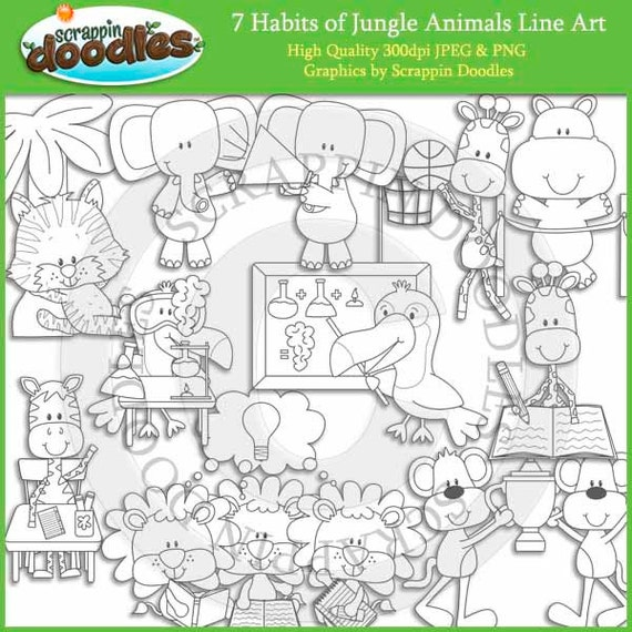 Line Drawings Of Jungle Animals : Habits of jungle animals line art