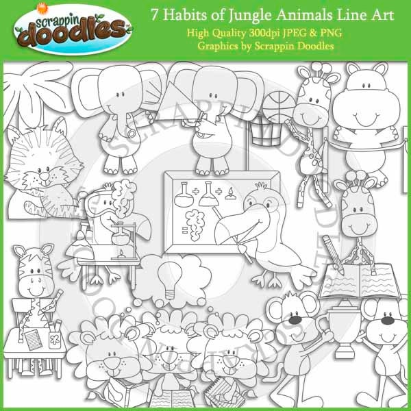 Line Art Jungle Animals : Habits of jungle animals line art