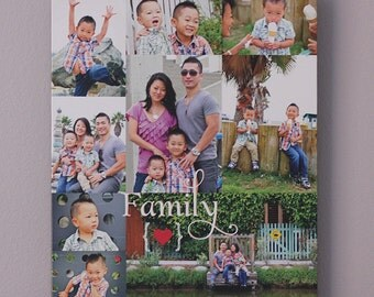 Family Photo Gift Personalized Family Photo Collage, Gift for Mom, Custom CANVAS Art (family photos, baby photos, wedding) Birthday Gift