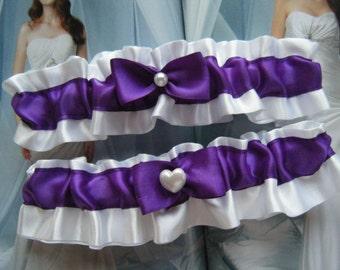 Royal Purple Satin on White Satin Garter Set---Ready to shop