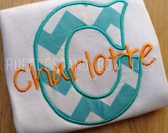 Kid's Custom Personalized T Shirt - Design your own Trendy Monogram kid's shirt - Chevron, polka dot applique shirt - gifts under 25, baby