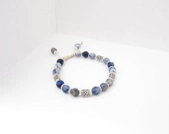 Blue Chalcedony Gemstone Celtic Knot Beaded Bracelet