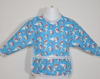 Shirt Saver Full Coverage Baby Bib With Long Sleeves and Pocket -Jumbo Jets