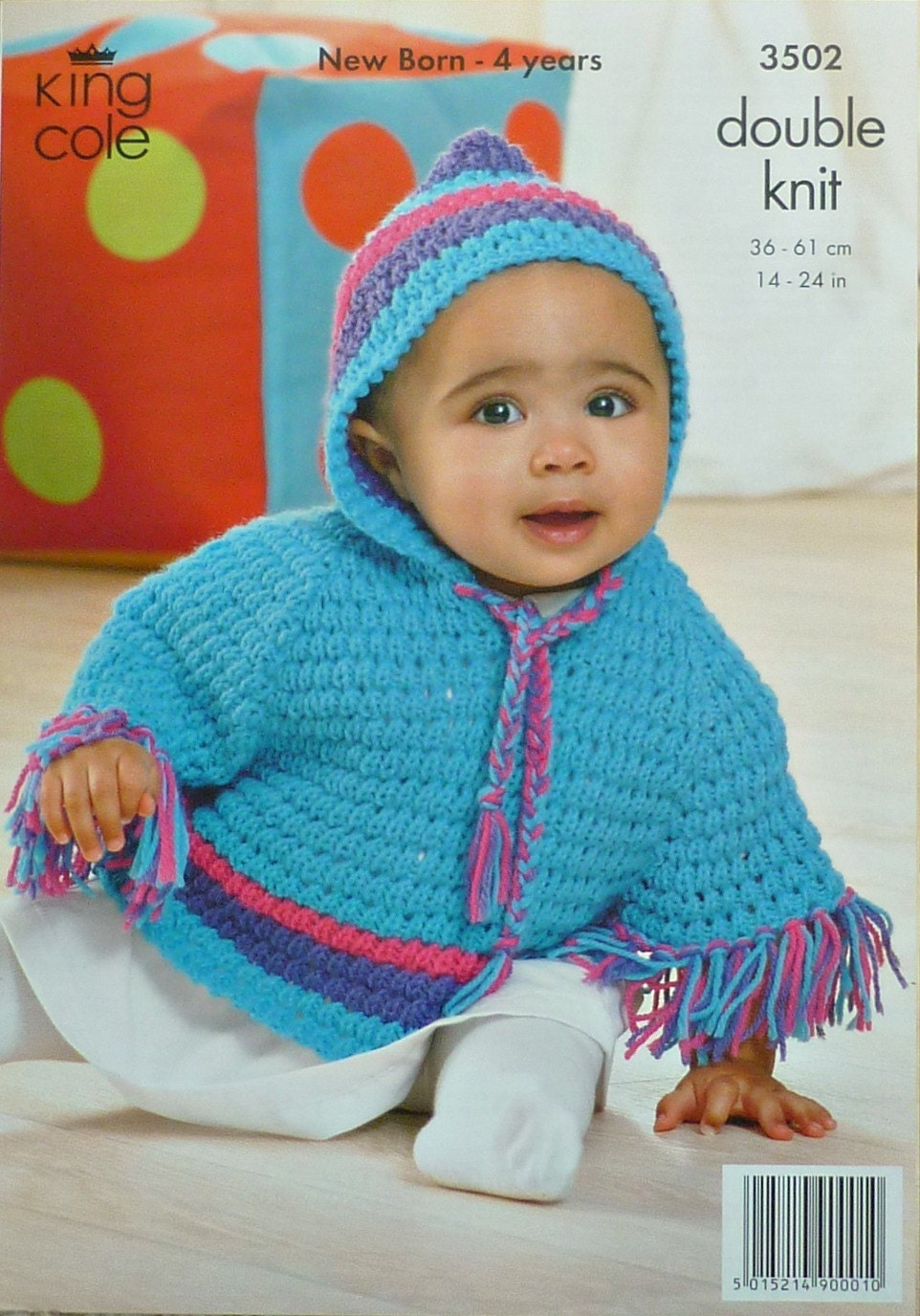 Hooded Toddler Poncho Knitting Pattern : Baby Knitting Pattern K3502 Babies/Toddlers Hooded Poncho