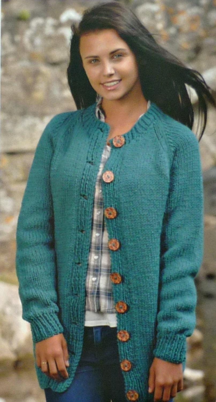 Womens Knitting Pattern W5745 Ladies Long Sleeve Round Neck Jacket Knitting P...