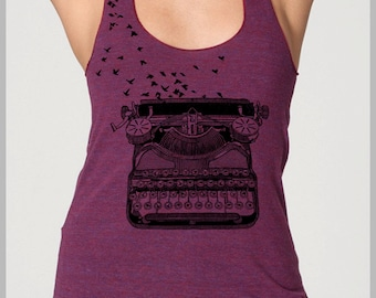 Typewriter Birds Tank Top Women's Racerback Writers Gift Freedom of Speech Vintage Typewriter Print American Apparel Tank Top