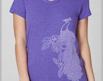 Peacock Women's T Shirt Bird Flower feathers screenprint American Apparel Tee S, M, L, XL  8 COLORS