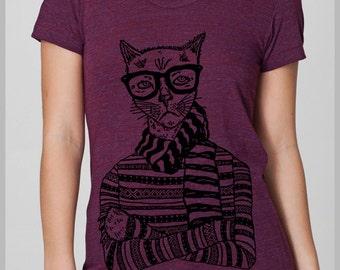 Hipster Cat T Shirt Women's American Apparel Tee S, M, L, XL  8 COLORS Full Spectrum Apparel Christmas