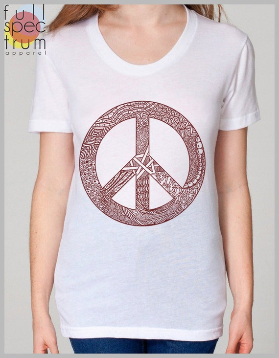 Peace Symbol Women's T Shirt American Apparel Tee S, M, L, XL 8 COLORS