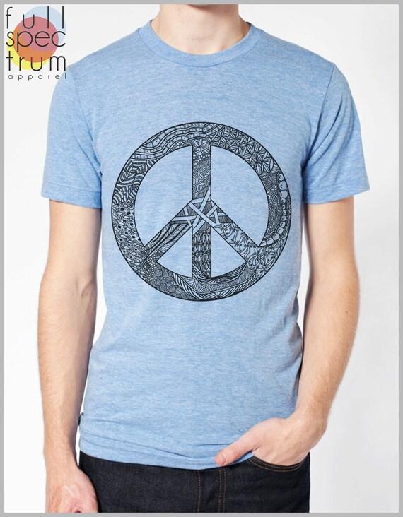 Men's T Shirt Peace Symbol Sign American Apparel Tshirt Tee Short Sleeve Unique Design XS, S, M, L, XL 9 COLORS