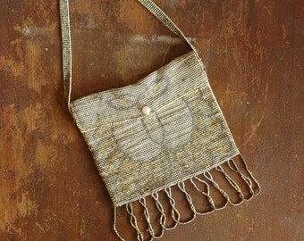 antique 1920s purse / french steel cut bead purse