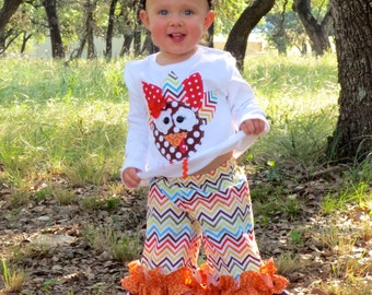Wild Turkey Outfit...Double Ruffle Pants and Appliqued Turkey, Size 0-3m to 8yrs