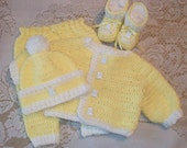 Crochet Baby Boy Yellow Sweater Set Layette with Leggings and Booties Perfect For Baby Shower Gift or Take Home Outfit