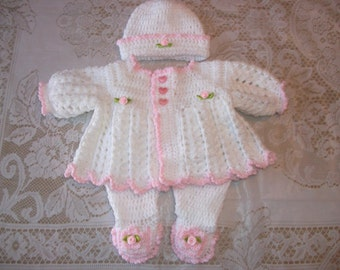 Crochet Baby Girl Sweater Set Layette Pink and White with Leggings & Ruffled Bonnet or Hat Perfect for Baby Shower Gift orTake Home Outfit