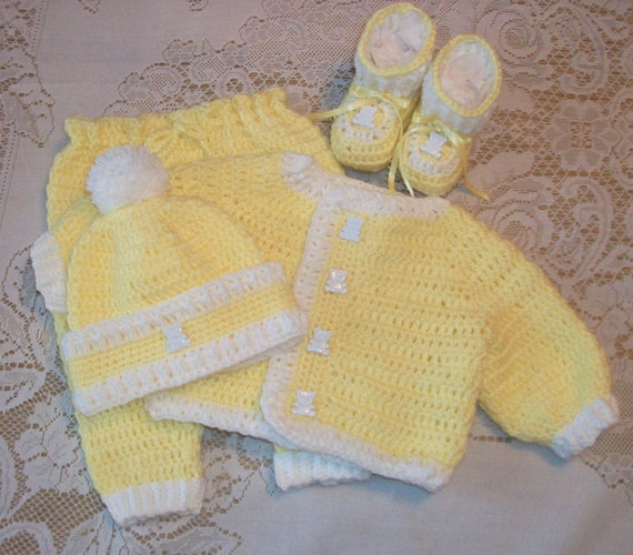 Crochet Baby Boy Yellow Sweater Set Layette with Leggings and