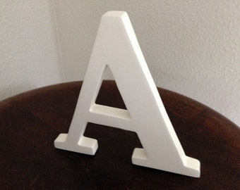 Free standing Letter A  wood White  5 inch