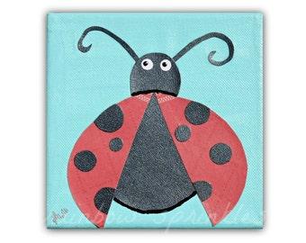 Children's Wall Art Print, 8x8- lady bug, red, insect, kids art, nursery decor, play room, nursery room art