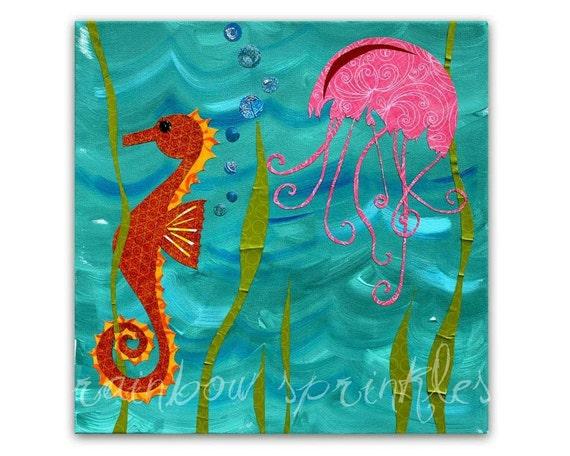 Children's Wall Art Print 12x12- seahorse, jellyfish, ocean, under the sea, Kids Art, Kids Room, Nursery Art, Nursery Room Decor