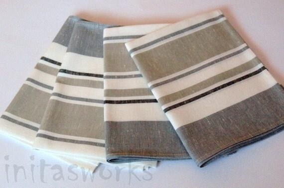 "Linen Napkin Rustic Burlap Gray Black White set of 8 size 18"" x 18"" Classic style"