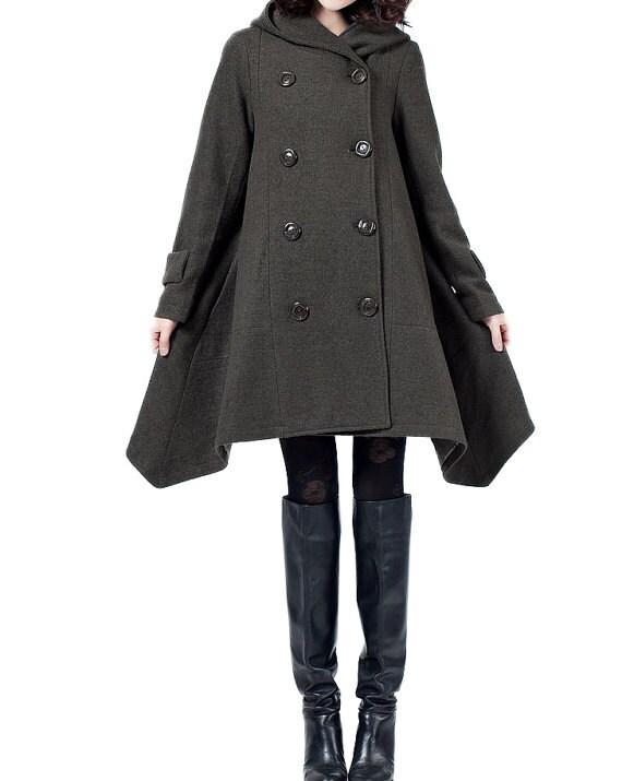 Double breasted Hoodie wool coat/ winter wool coat/ army green Cloak coat