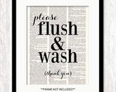 Bathroom Art, FLUSH & WASH quote print, dictionary art print, bathroom quote print, bathroom wall art, bathroom powder room decor, bath art