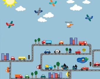 JUMBO Deluxe Transportation Scene Cars Airplanes Roadway REUSABLE Decal 622X