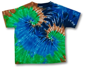 Kids size 5 to 6 t-shirt double spiral tiedye with blues green and brown on Rabbit Skins 100% Organic Cotton