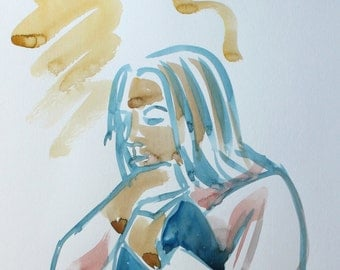 The Thinker - Original Watercolour sketch