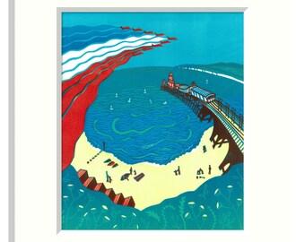 Red Arrows, Bournemouth - Digital print from my original Linocut
