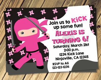 Girls Ninja Birthday Invitation Print Your Own