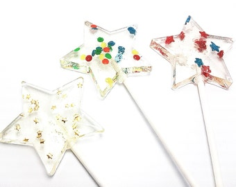 10 STAR WAND LOLLIPOPS - with Edible Embellishments