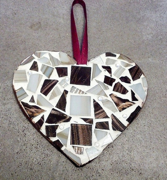 Mosaic Mocha Heart Ornament Wall Hanging
